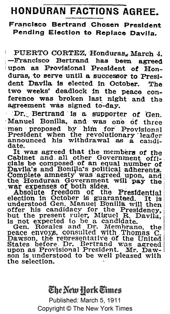 Artículo del New York Times del 5 de Marzo de 1911, reportando sobre la colocación de Francisco Bertrand en la presidencia de Honduras.