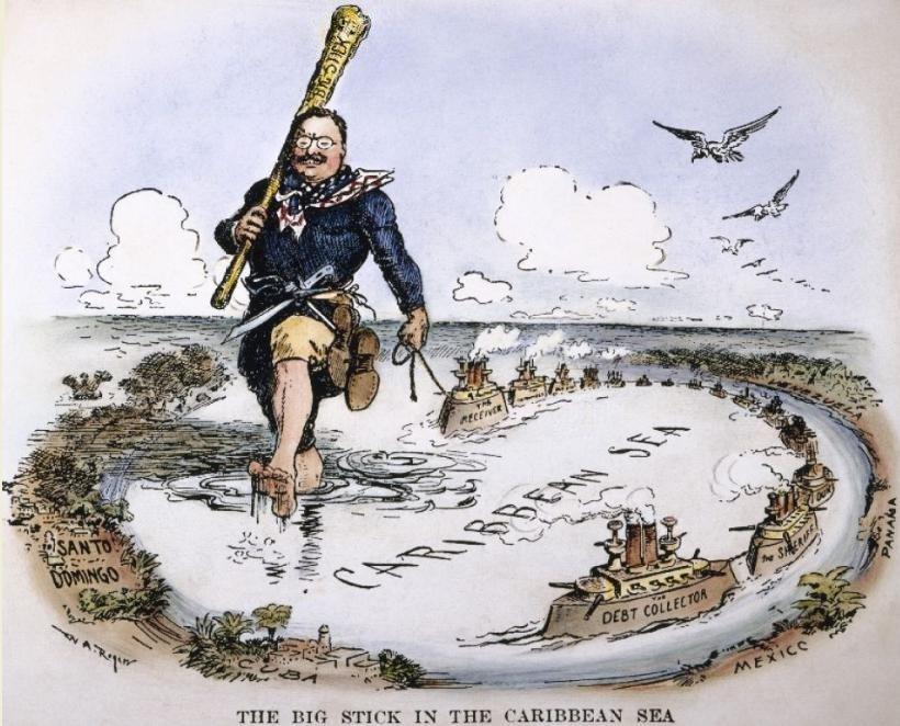 """Caricatura del presidente estadounidense Theodore Roosevelt, y su política internacional de """"Gran Garrote""""."""