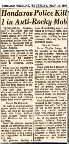 Recorte del Chicago Tribune de 1969, relatando el asesinato de Carlos Virgilio Núñez.