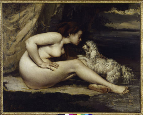 2-M145-A3-1861-B G.Courbet, Frauenakt mit Hund Courbet, Gustave 1819-1877. 'Femme nue au chien' (Frauenakt mit Hund), 1861/62. (Leontine Renaude, die Freundin des Kuenstlers). Oel au Leinwand, 65 x 81 cm. R.F. 1979-56 Paris, Musee d'Orsay. E: G.Courbet / Nude with Dog / 1861/62 Courbet, Gustave 1819-1877. 'Femme nue au chien' (nude with dog), 1861/62. (Leontine Renaude, girlfriend of the artist). Oil on canvas, 65 x 81cm. Paris, Musee d'Orsay. F: G.Courbet / Femme nue au chien 1861-62 Courbet, Gustave 1819-1877. - 'Femme nue au chien', 1861-62. (Leontine Renaude, amie de l'artiste). Huile sur toile, H. 0,650 , L. 0,810. RF 1979-56 Paris, Musee d'Orsay.