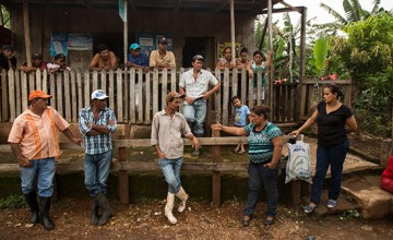 "Francisca ""Chica"" Ramirez, an anti canal leader among campesinos in El Roble, Rio San Juan, gathers local campesinos together to inspire their attendance at the upcoming protest in El Tule. Nicaragua, June 10, 2016"
