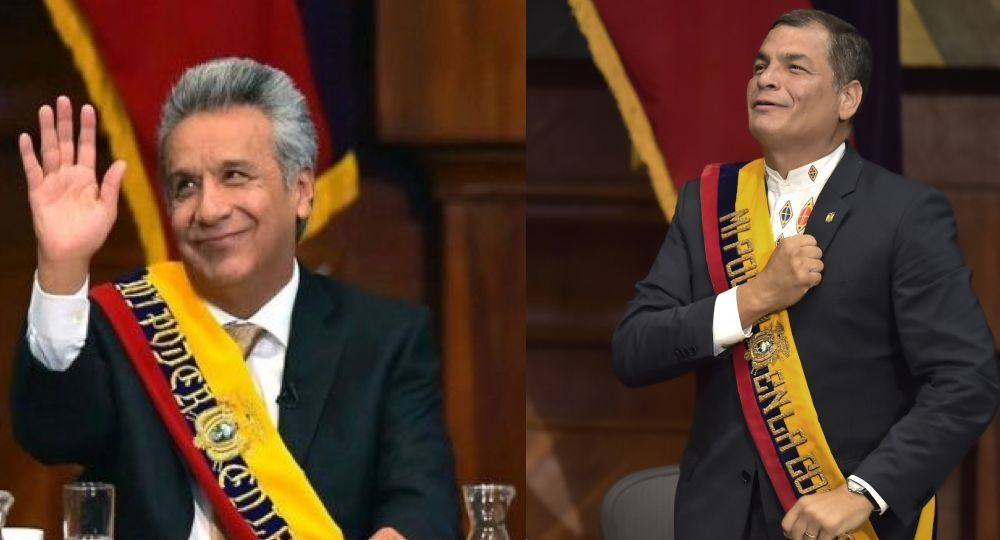 Ecuadorean new President Lenin Moreno (L) and outgoing President Rafael Correa are pictured at the National Assembly in Quito on May 24, 2017 during the former's inauguration ceremony. / AFP PHOTO / Rodrigo BUENDIA