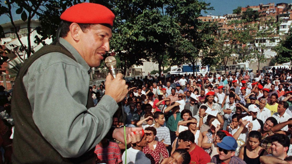 FOR RELEASE WITH STORY BC VENEZUELA - COUPSTER - Former Venezuelan coup leader Hugo Chavez Frias addresses a crowd of supporters in a poor residential area of Caracas January 31, 1998. Chavez, whose February 4,1992 military putsch failed and landed him in jail, is now running for president on a ticket of radical change. A fomer member of the Venezuelan military's special forces unit, Chavez says his military training was excellent preparation for politics and has pledged to dissolve Congress and halt foreign debt payments if he wins in the December 6 polls. CHAVEZ